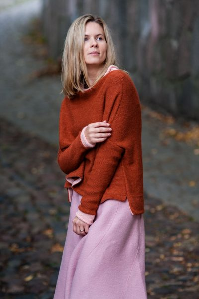 galo yarns, alpaca mist, rust and pink, megztinis